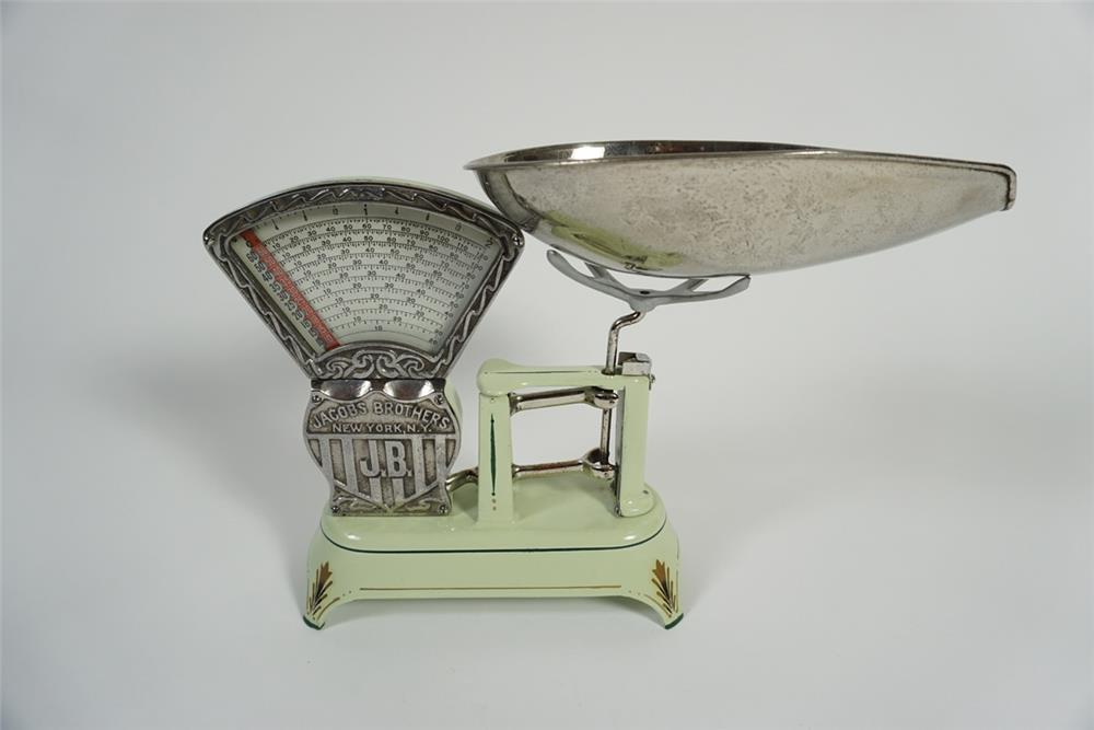 Stunning 1920s Jacobs Brothers of New York restored soda parlor candy scale. - Front 3/4 - 187790