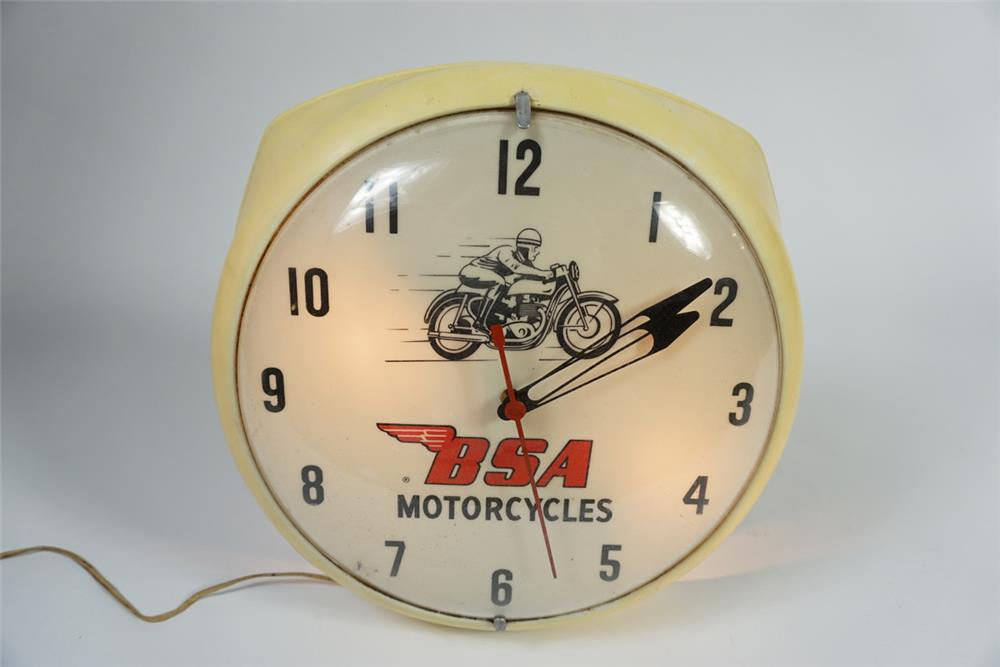 Scarce early 1960s BSA Motorcycles light-up dealer clock. Extremely hard to find. - Front 3/4 - 187791