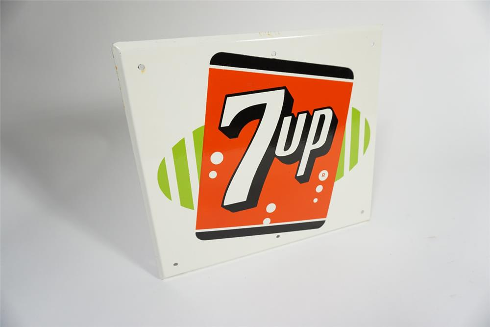 NOS 1950s 7-Up Soda single-sided porcelain sign. - Front 3/4 - 187798
