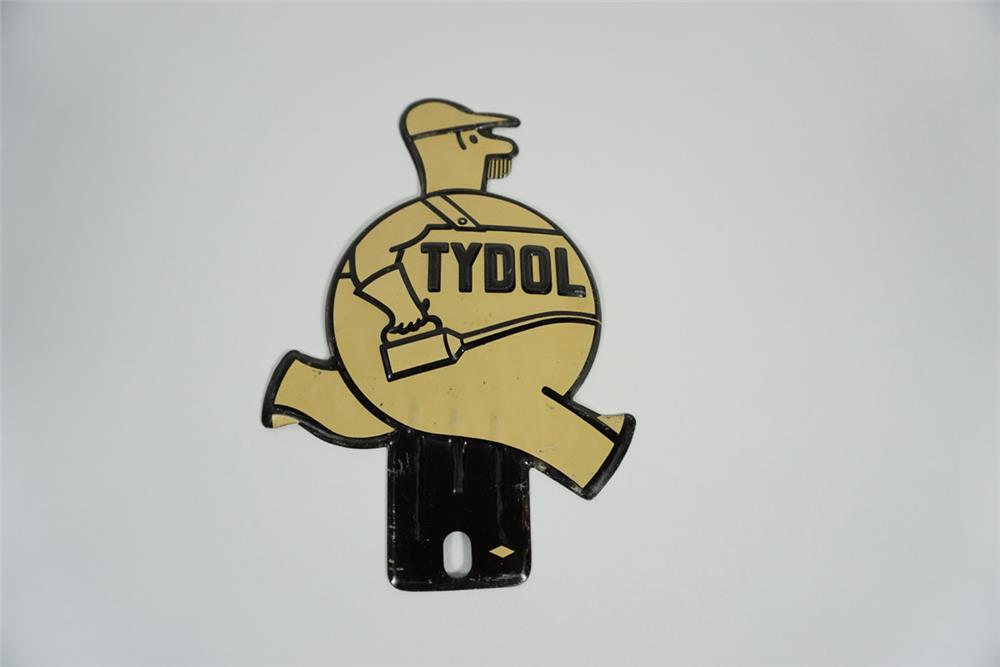 NOS 1930s Tydol Gasoline single-sided die-cut tin attendant shaped license plate attachment sign. - Front 3/4 - 187800