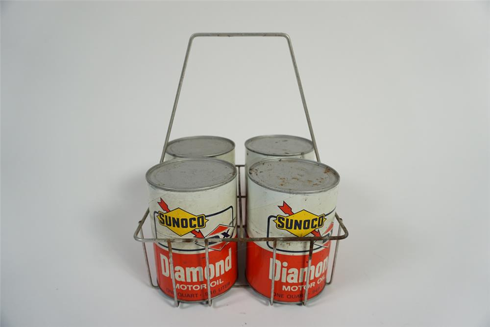 Lot of four Sunoco-Diamond Motor Oil paper quarts in a vintage service station portable carrier. - Front 3/4 - 187805