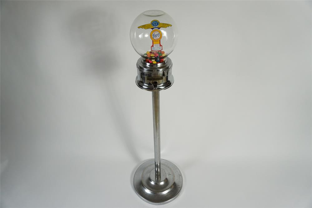 Neat 1950s Ford glass dome 1-cent gumball dispenser on original stand. - Front 3/4 - 187807