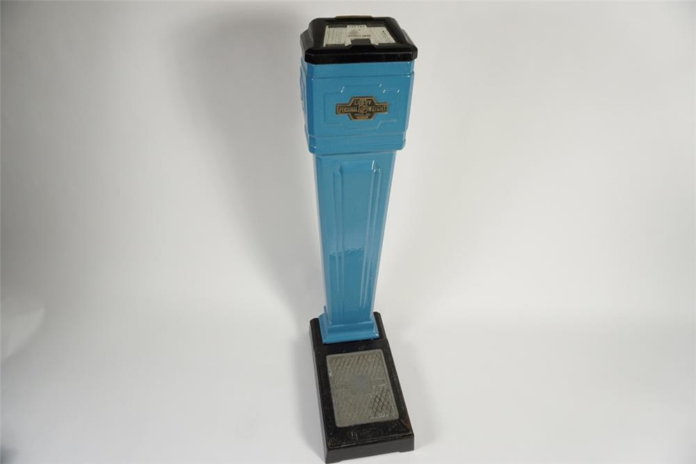 All original 1930s LoBoy 1-cent coin-operated penny scale with porcelain coated exterior. - Front 3/4 - 187808