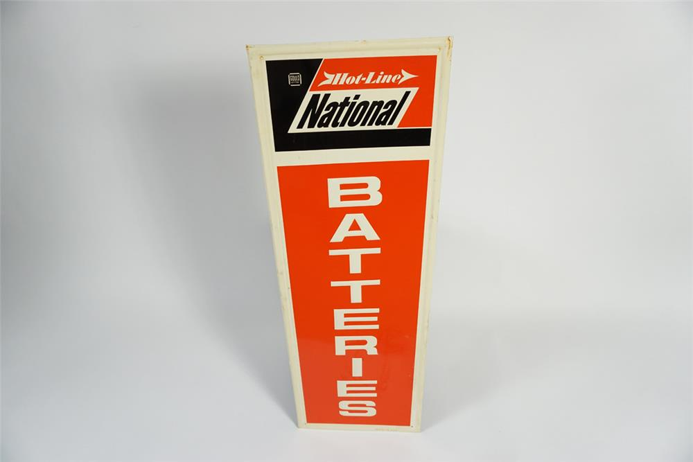 NOS 1960s National Hot-Line Batteries single-sided tin service station sign. - Front 3/4 - 187810