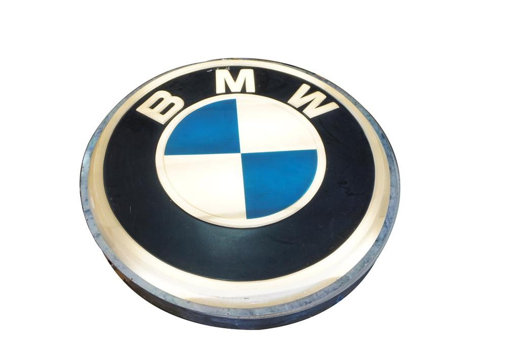 Highly prized large vintage BMW Automobiles single-sided light-up dealership sign. - Front 3/4 - 187811