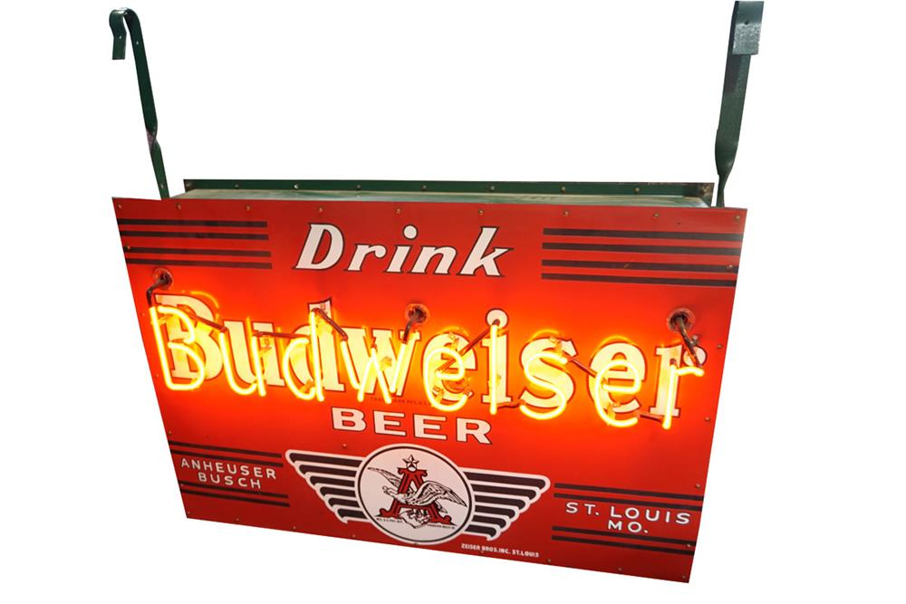 Museum quality 1930s Drink Budweiser Beer double-sided neon porcelain sign with Anheuser-Busch Eagle logo. - Front 3/4 - 187819