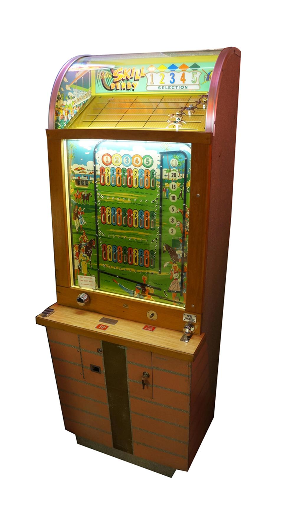 Very neat 1950s ten cent coin-operated Bally's Skill Derby Horse Race game. - Front 3/4 - 187824