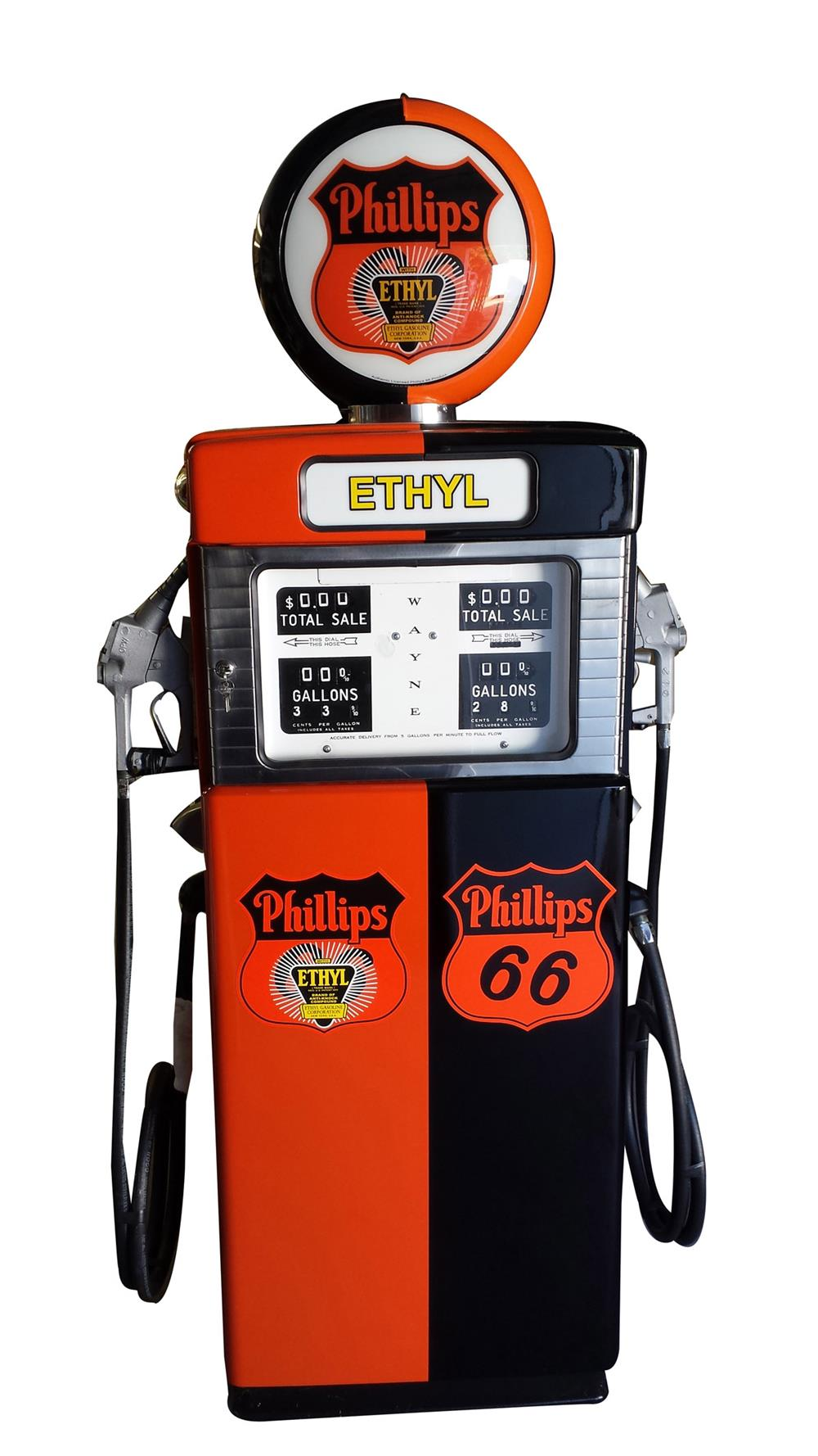 Very desirable late 1950s Gulf Oil Wayne 505 dual dispensing gas pump. - Front 3/4 - 187827
