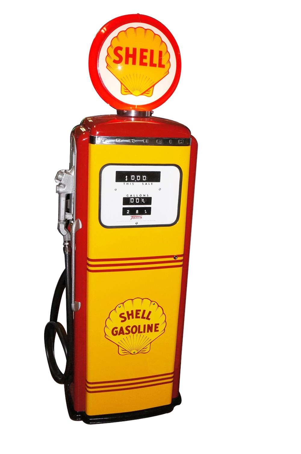 Highly desirable 1950s Shell Oil Tokheim model 300 restored service station gas pump. - Front 3/4 - 187830