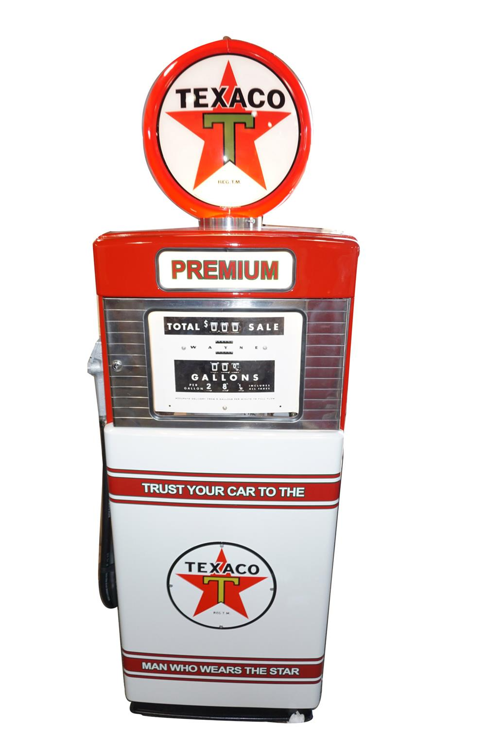Spectacular late 1950s Texaco Oil Tokheim model #505 professionally restored service station gas pump. - Front 3/4 - 187834