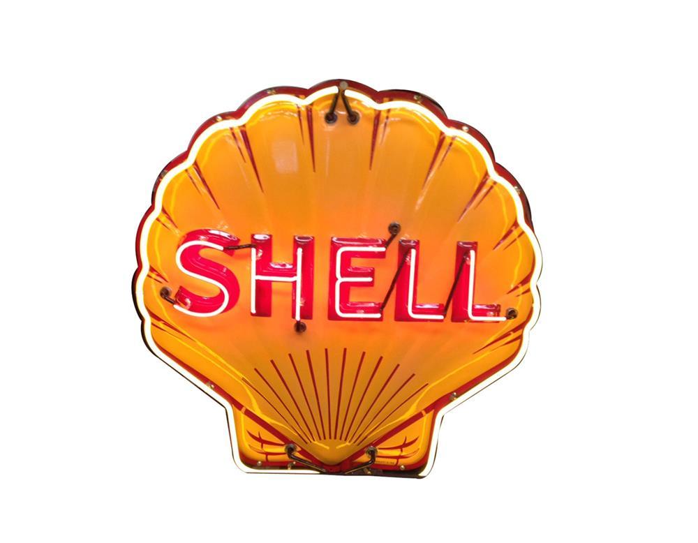 Wonderful circa 1930s Shell Oil single-sided neon porcelain clamshell shaped service station sign. - Front 3/4 - 187847
