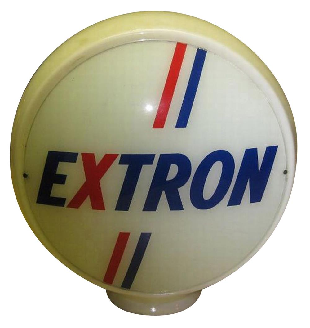 1950s Extron Gasoline glass bodied gas pump globe. - Front 3/4 - 187855