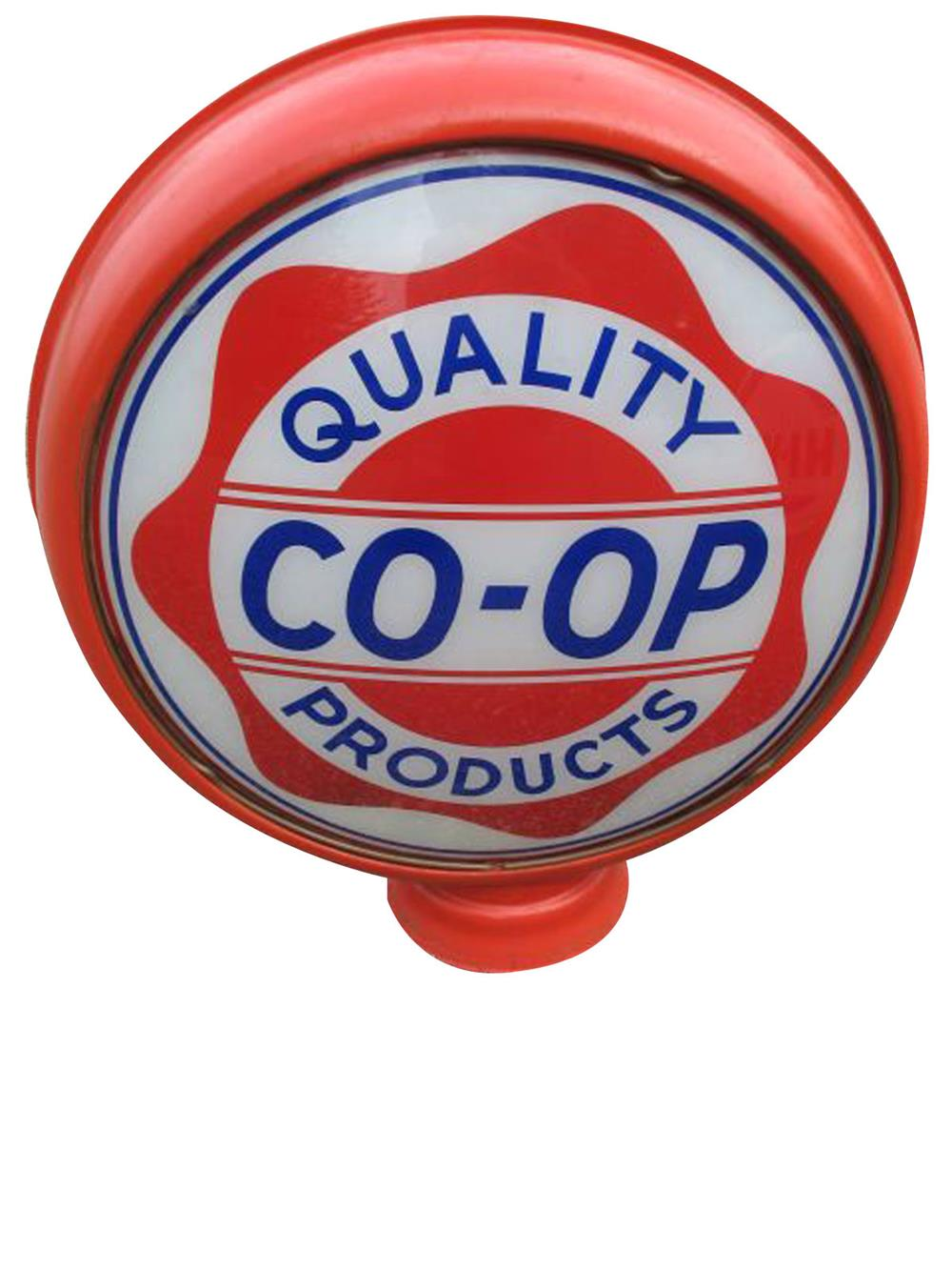 Scarce 1930s Co-op Gasoline Quality Products metal bodied gas pump globe. - Front 3/4 - 187856