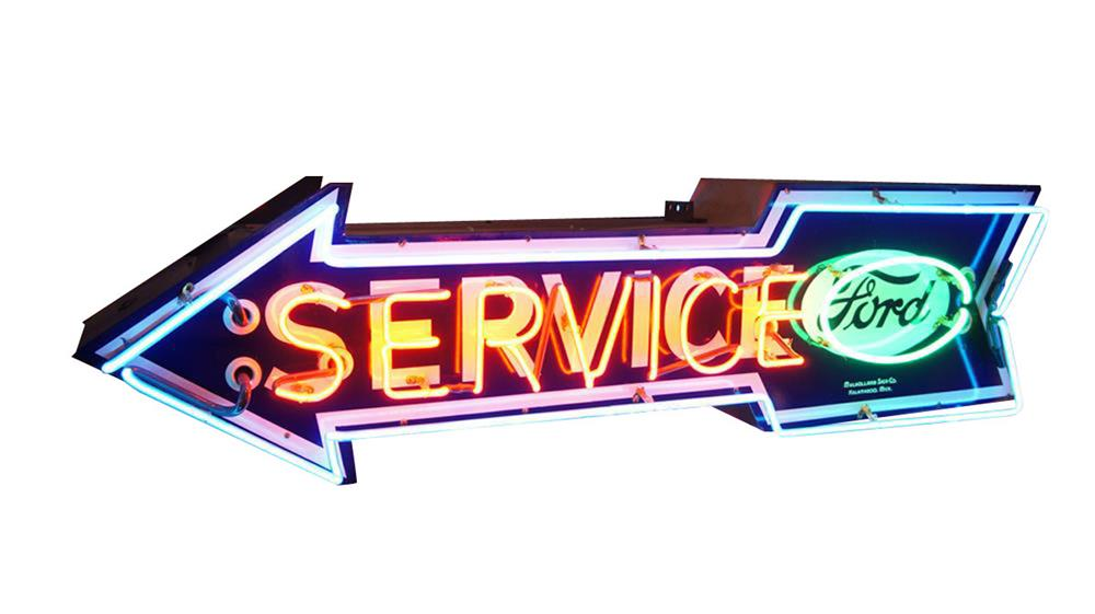 Superb 1930s-40s Ford Service single-sided neon porcelain arrow sign with logo. - Front 3/4 - 187860