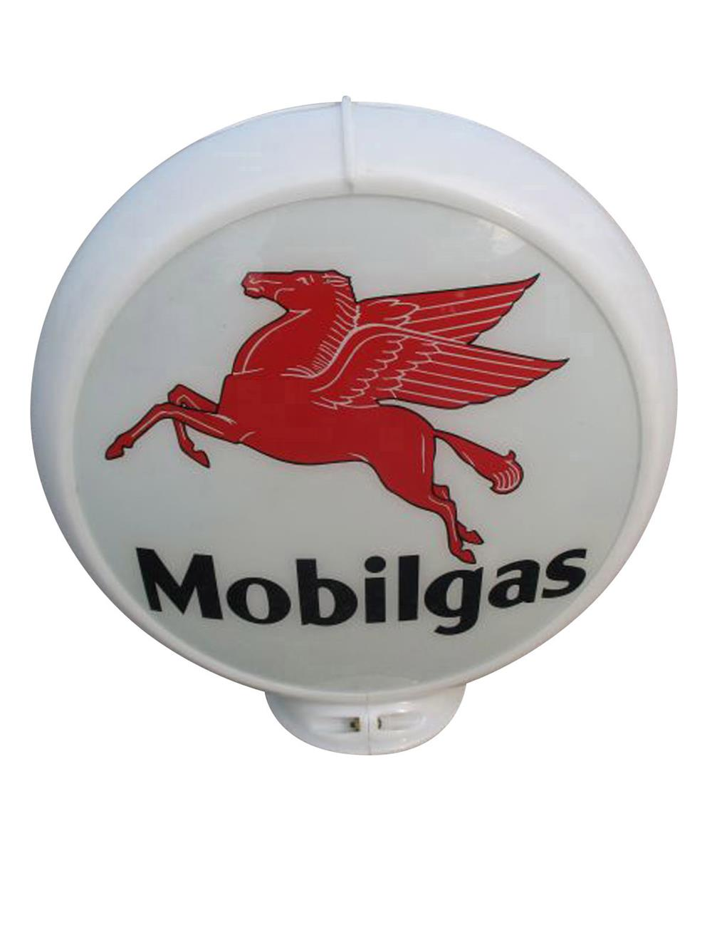 Sharp circa 1950s Mobilgas gas pump globe with Pegasus logo in a Capcolite body. - Front 3/4 - 187863