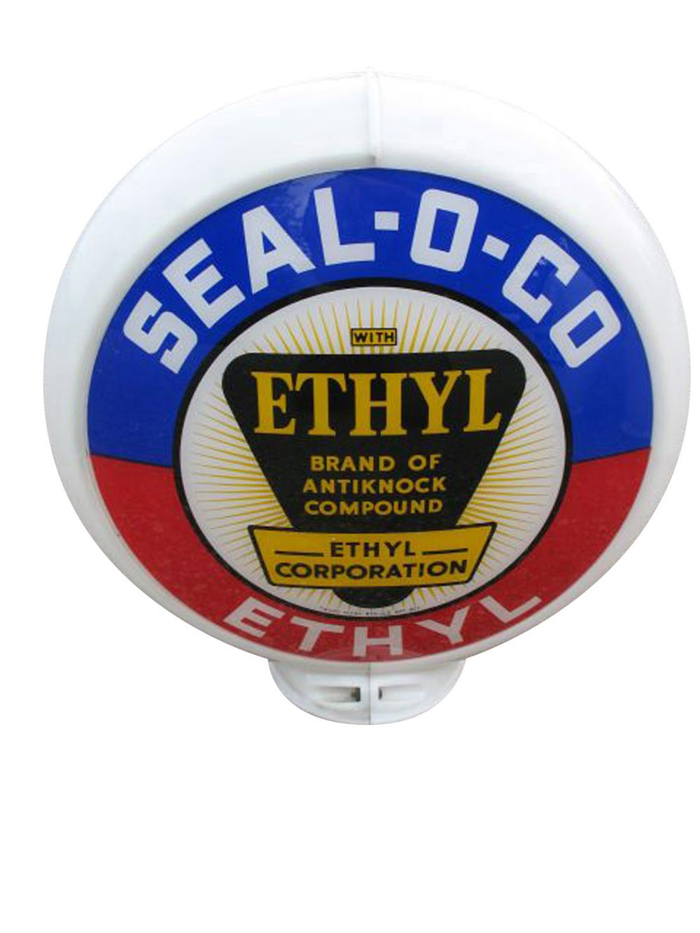 Extremely unusual circa 1940s Seal-O-Co with Ethyl gas pump globe in a Capcolite body. - Front 3/4 - 187866