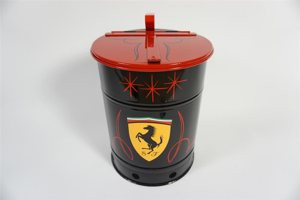 Sharp 1950s service department shop towel/oil rag container restored in Ferrari regalia. - Front 3/4 - 187876