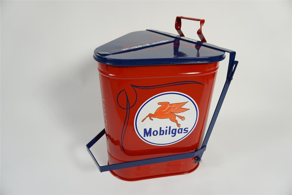 Wonderful 1940s-40s Mobil Oil service department oil rag container with foot lever. - Front 3/4 - 187880