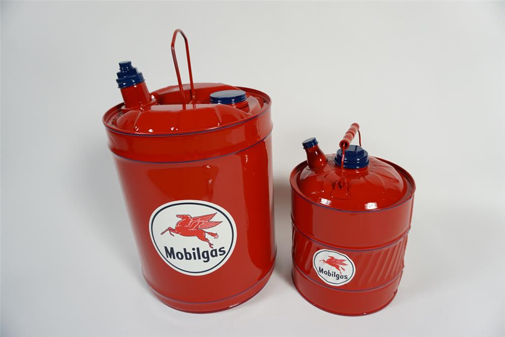 Lot of two restored circa 1930s-40s Mobil Oil service department multi-fluid cans. - Front 3/4 - 187882