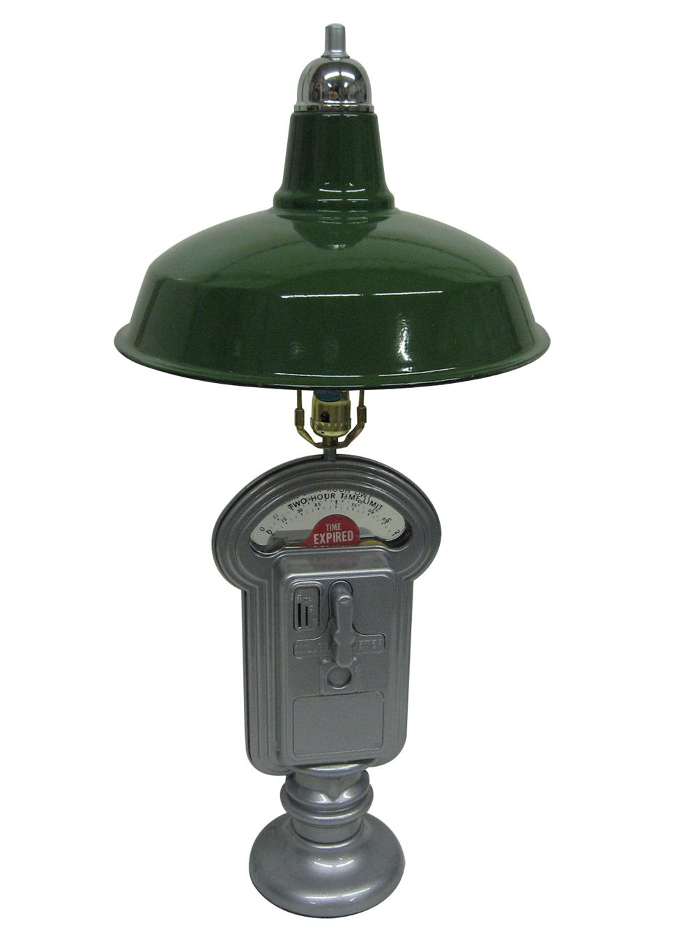 Original parking meter made into a wonderful lamp with NOS porcelain shade. - Front 3/4 - 187940