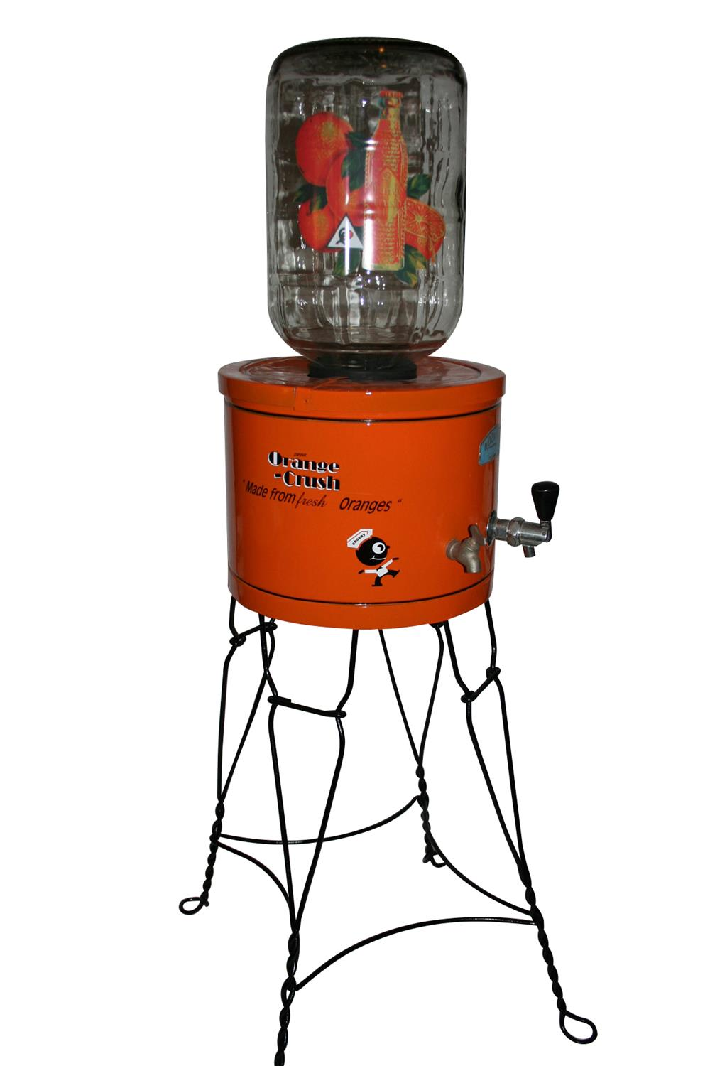 Nicely restored 1930s  Orange Crush dispenser with stand. - Front 3/4 - 187952