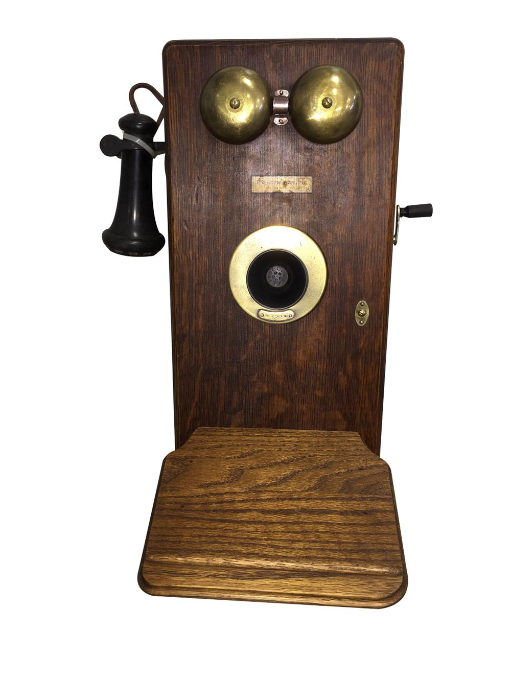 Early wooden hand crank telephone with mouth/ear piece. - Front 3/4 - 187957