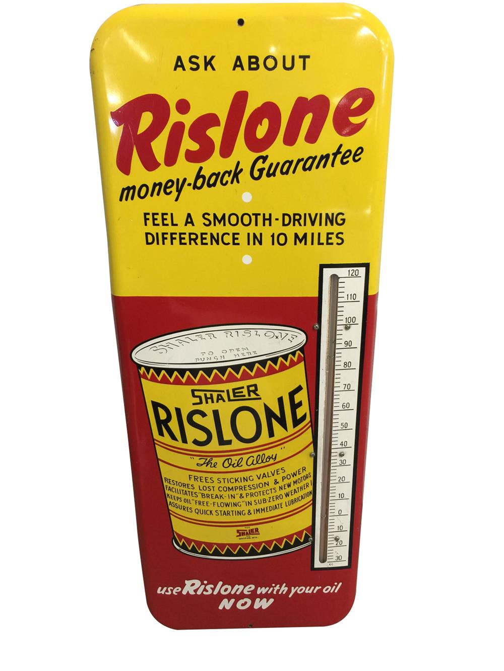 Very clean 1950s Rislone Automotive Oil Additive thermometer with graphics. - Front 3/4 - 187960