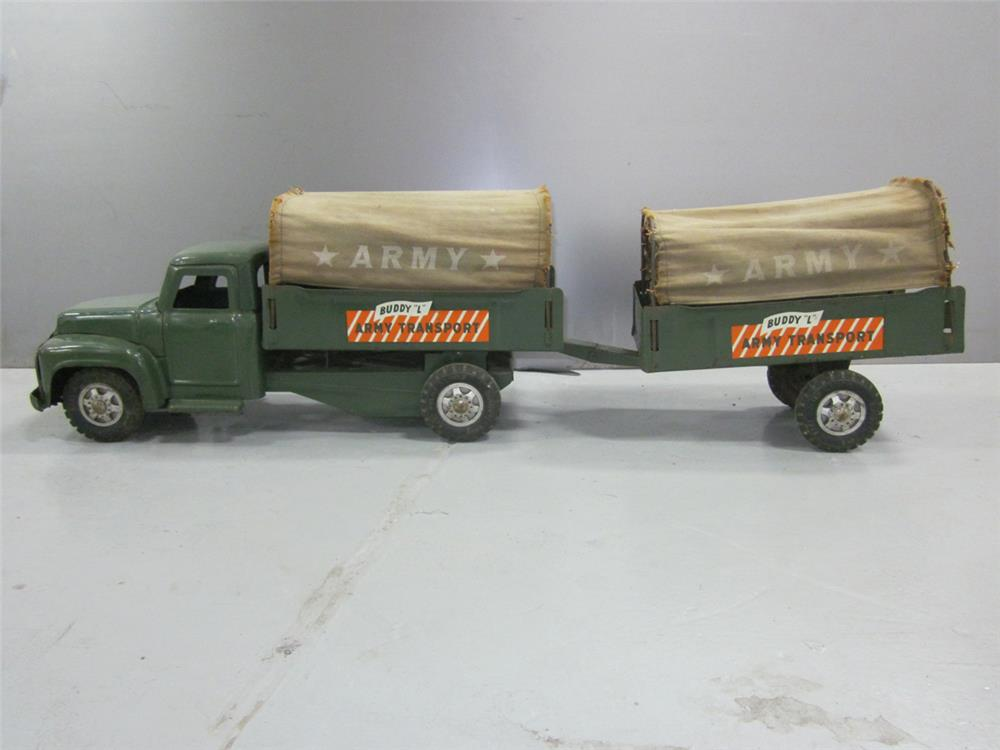Large 1950s Buddy L restored army transport truck with munitions trailer. - Front 3/4 - 187981