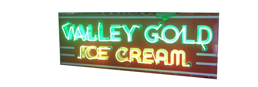 All original 1940s-50s Valley Gold Ice Cream double-sided porcelain neon sign. - Front 3/4 - 187986