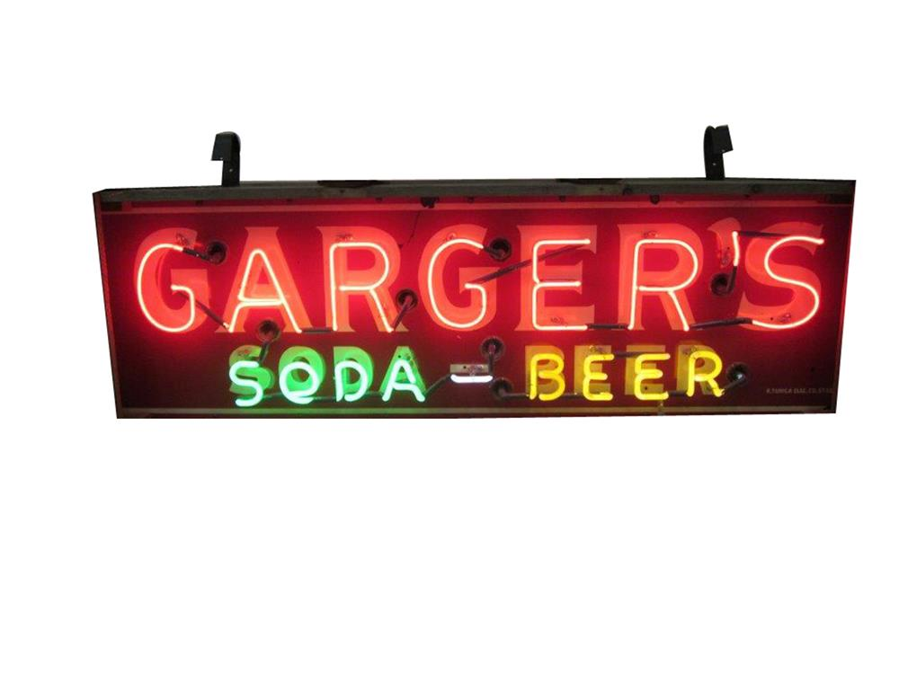 Original 1940s-50s Garger's Soda-Beer double-sided neon porcelain sign. - Front 3/4 - 187989