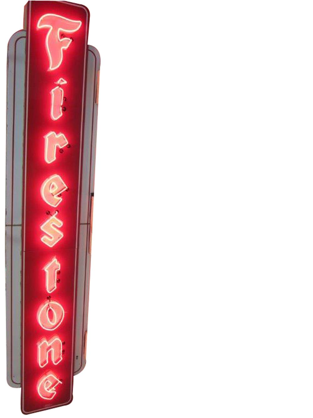 Large 1950s Firestone Tires double-sided neon porcelain sign found in mint condition. - Front 3/4 - 187991