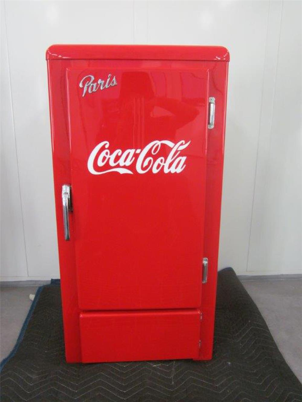 1930s Paris ice box restored inside and out with Coca-Cola theme - Front 3/4 - 187993