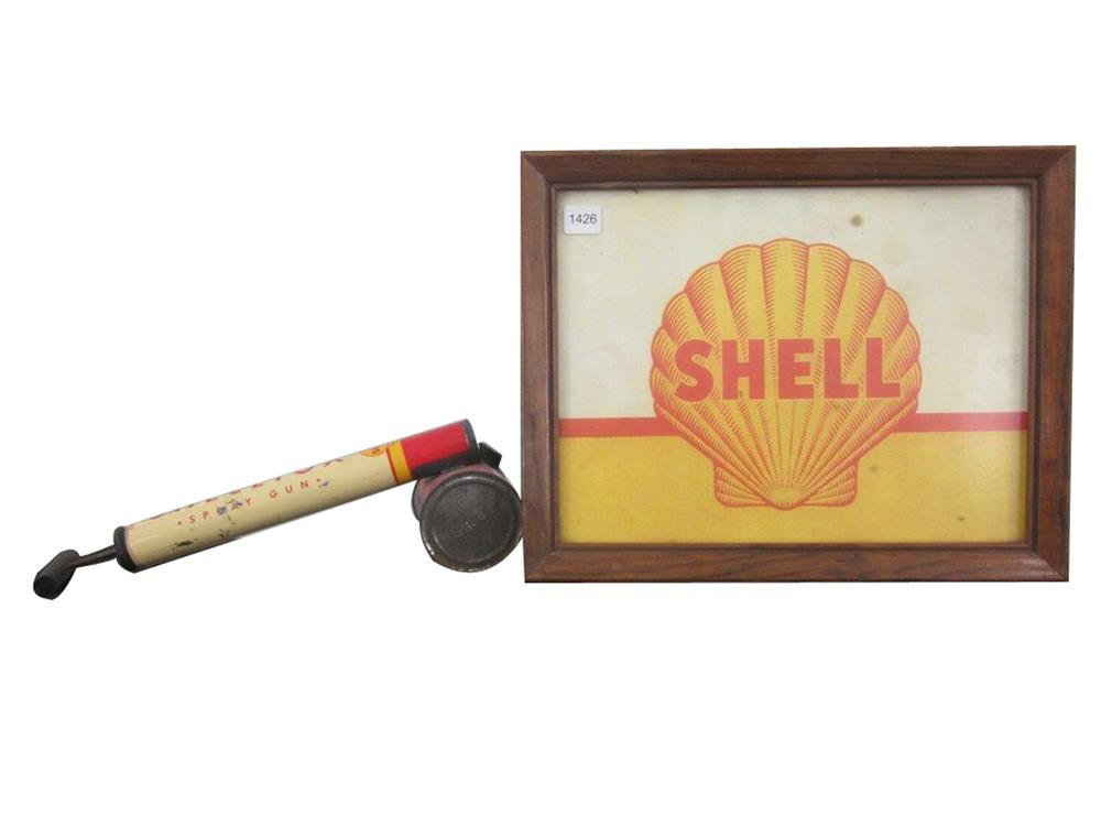 1940s Shell display sign in wooden frame and a period Shelltox sprayer. - Front 3/4 - 187995