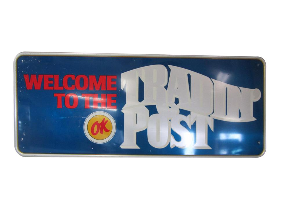 "Sharp Chevrolet OK Used Cars ""Tradin Post"" showroom sales tin sign - Front 3/4 - 187997"