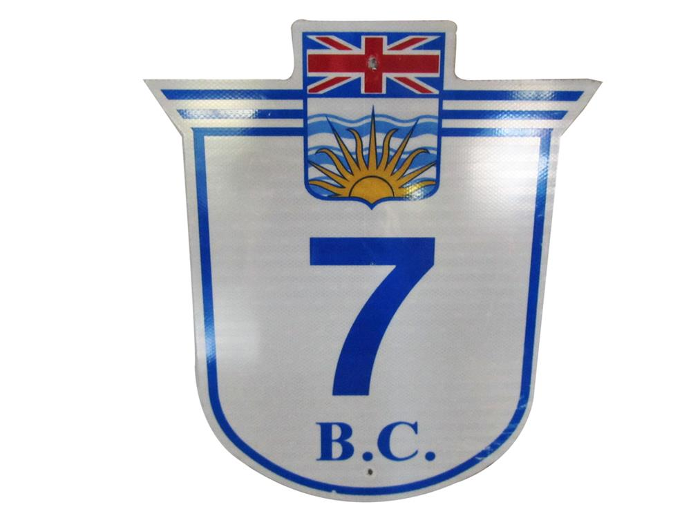 Handsome British Columbia Highway 7 metal road sign with Union Jack logo. - Front 3/4 - 188005