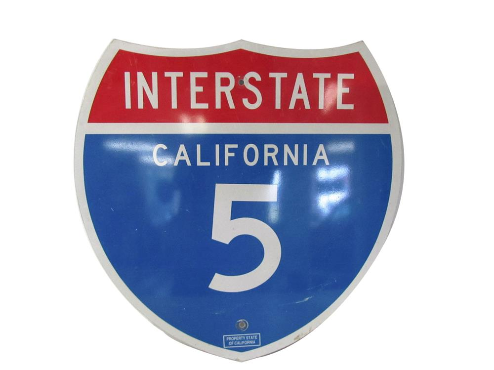 Very clean California Interstate 5 die-cut metal highway road sign. - Front 3/4 - 188006