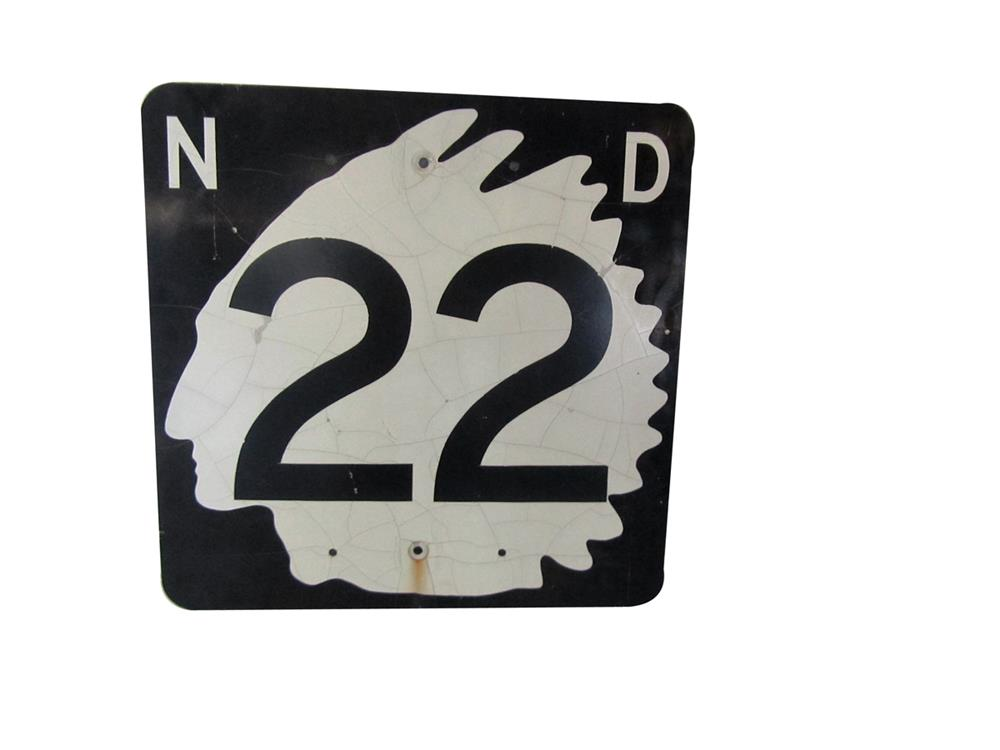 Vintage North Dakota Highway 22 metal road sign with Native American graphic. - Front 3/4 - 188007