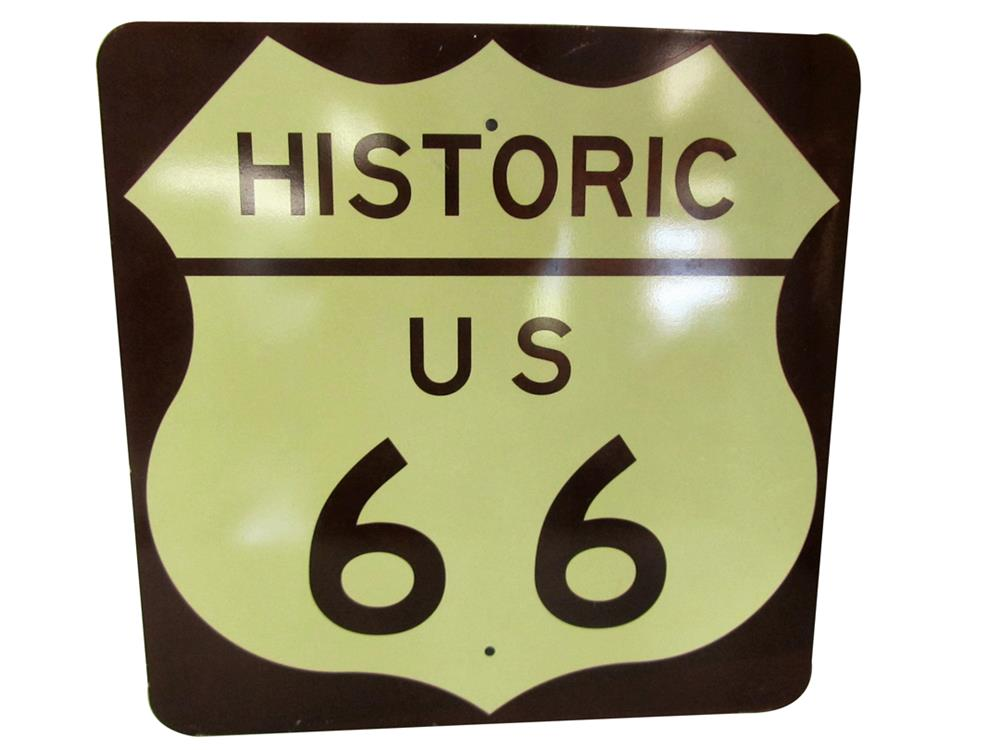 Rare vintage Historic US Route 66 metal highway sign. - Front 3/4 - 188009