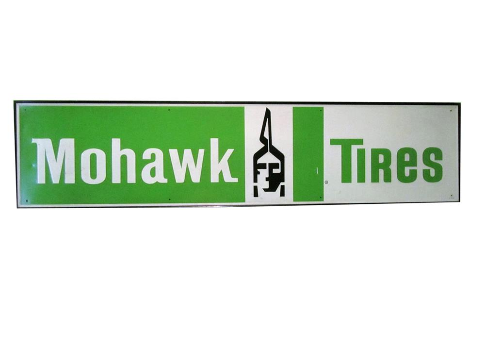 NOS Mohawk Tires single-sided tin sign with Native American logo. - Front 3/4 - 188010