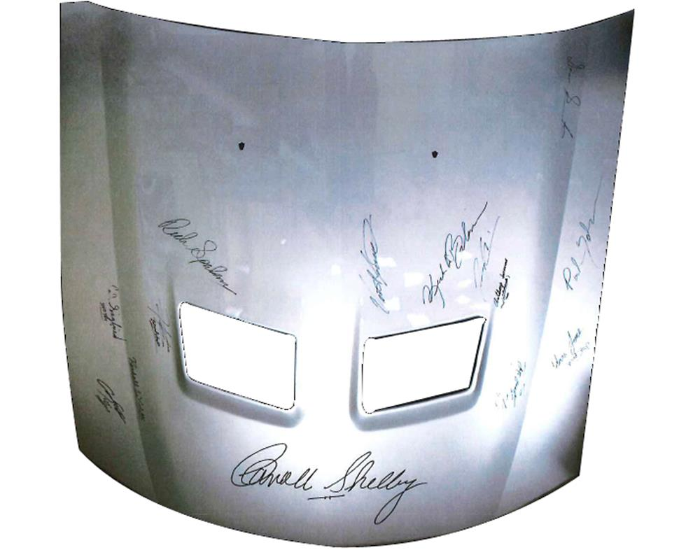 Original Carroll Shelby Mustang Hood. Signed by Mr. Carroll Shelby and the entire Las Vegas Cobra crew. - Front 3/4 - 188012