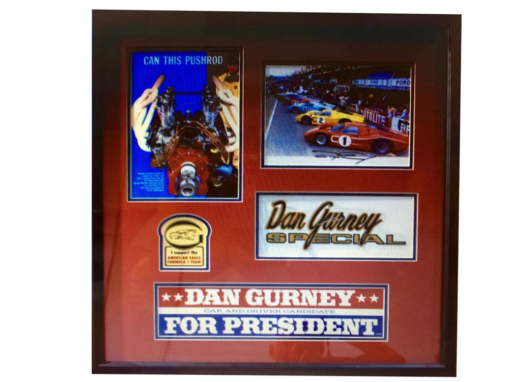 Dan Gurney tribute shadowbox with original items and signed three times by Dan Gurney. - Front 3/4 - 188023
