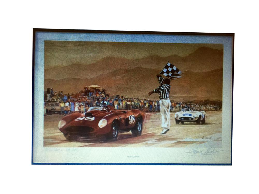 Bill Neil lithograph featuring Shelby, Hill and Ferrari with original Carroll Shelby signature. - Front 3/4 - 188045