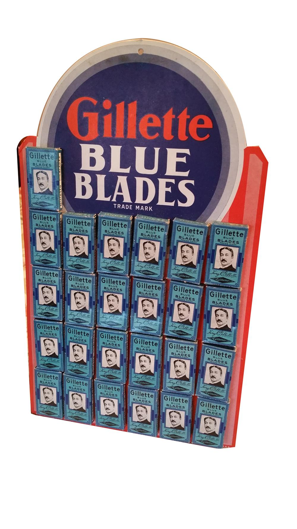 NOS 1920s-30s Gillette Razor Blades countertop store display still full of original NOS blades. - Front 3/4 - 188046