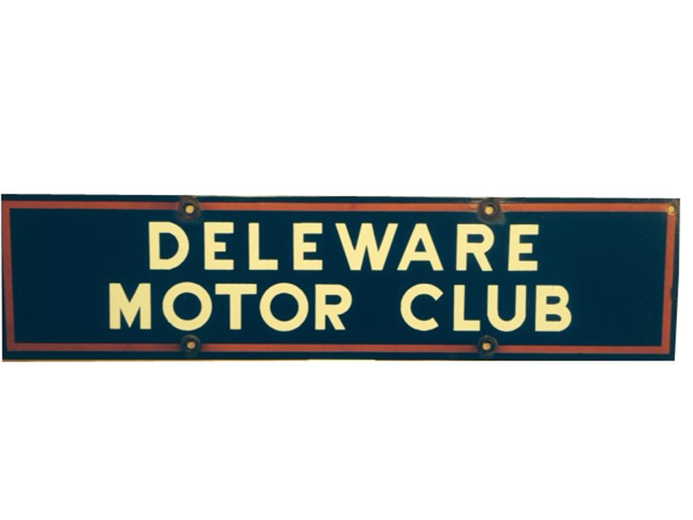 Delaware Motor Club double-sided porcelain sign automotive garage sign. - Front 3/4 - 188051