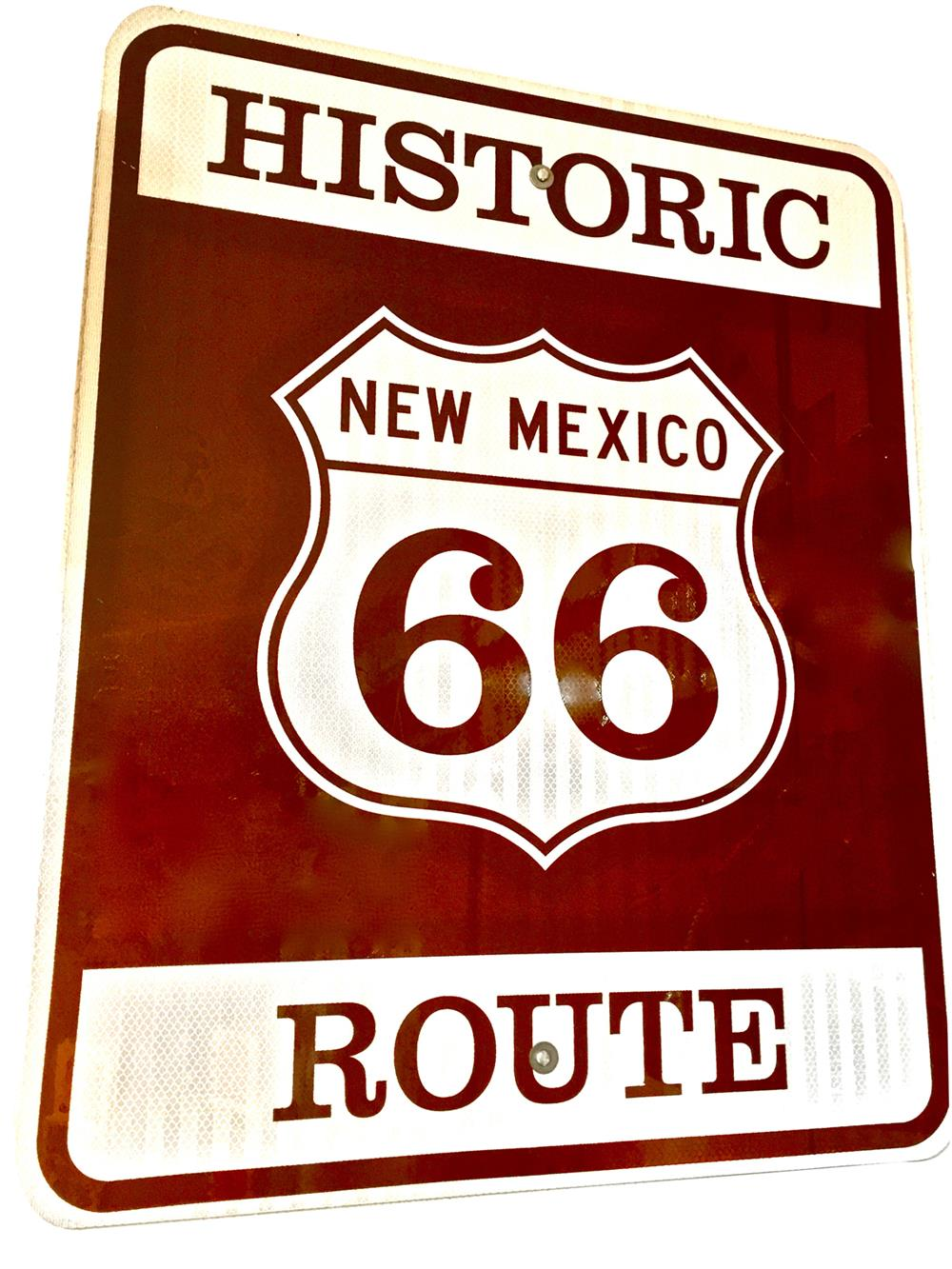 Very desirable Historic Route 66 metal road sign from New Mexico. - Front 3/4 - 188053