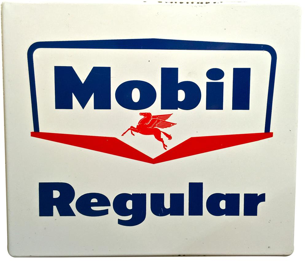 1950s Mobil Oil single-sided porcelain pump plate sign with Pegasus logo. - Front 3/4 - 188054