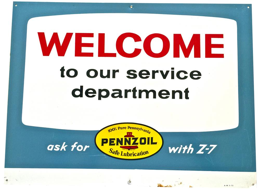 "NOS Pennzoil ""Welcome to Our Service Department"" with Bell Graphic single-sided tin service station sign. - Front 3/4 - 188057"