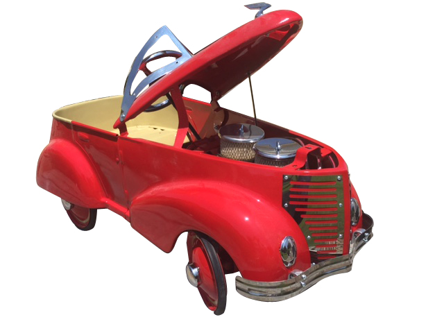 Addendum Item - One of a kind 1937 restored Ford pedal car with operating hood and dual carburetor faux engine. - Front 3/4 - 188233