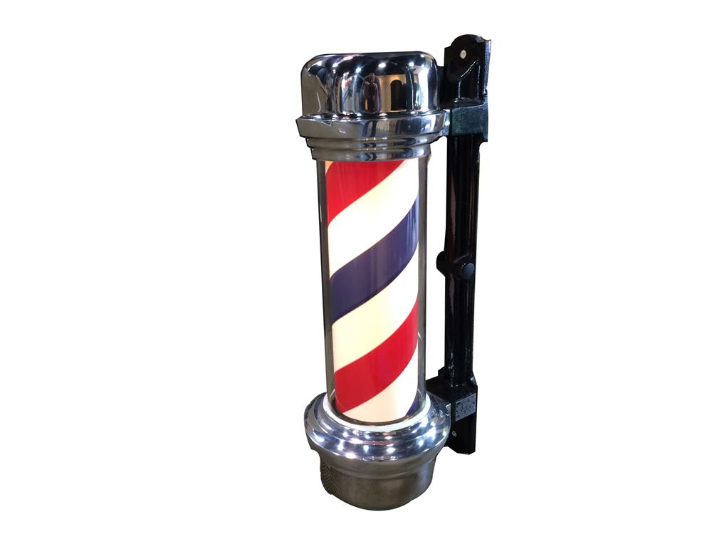 Addendum Item - Highly prized 1950s light-up barber pole with rotating cylinder by Marvy and Company. - Front 3/4 - 188307