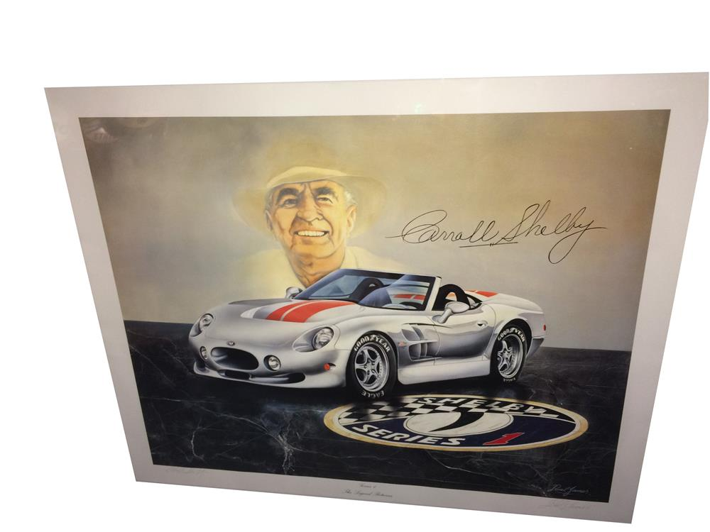 "Addendum Item - Wonderful Ruel James ""The Legend Returns"" Carroll Shelby lithograph personally signed by Carroll Shelby and the Artist Ruel James. - Front 3/4 - 188309"
